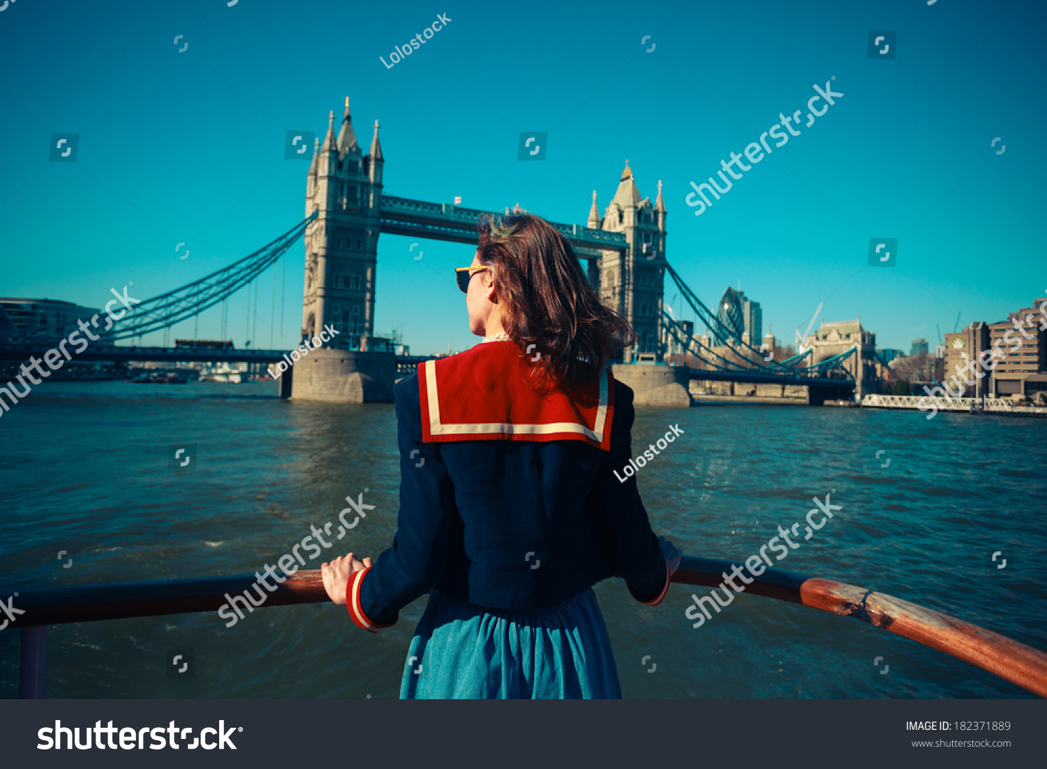 ... Bridge And The London Skyline Stock Photo 182371889 : Shutterstock: www.shutterstock.com/pic-182371889/stock-photo-a-young-woman-on-a...