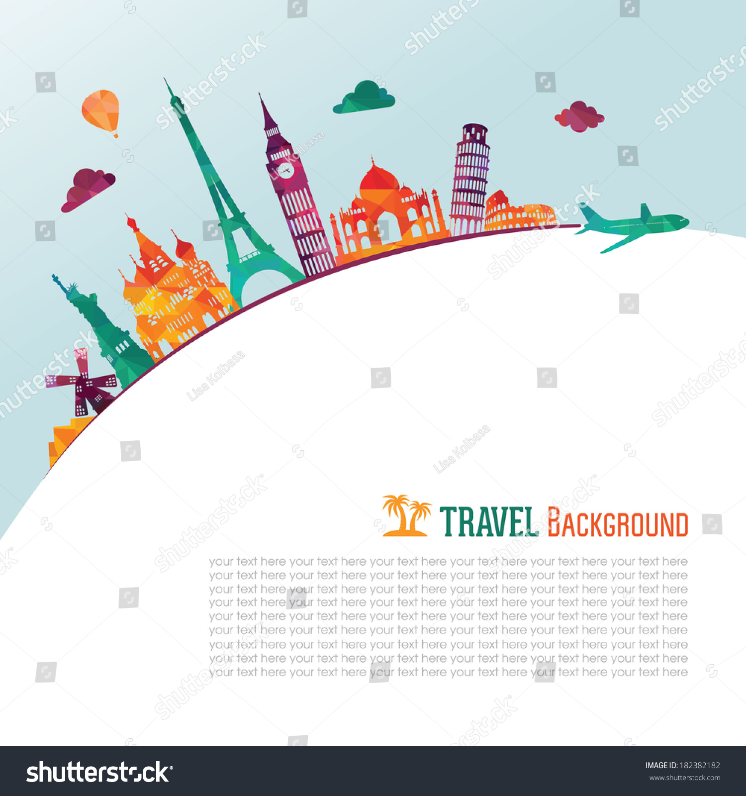 Travel Tourism Background Stock Vector 182382182