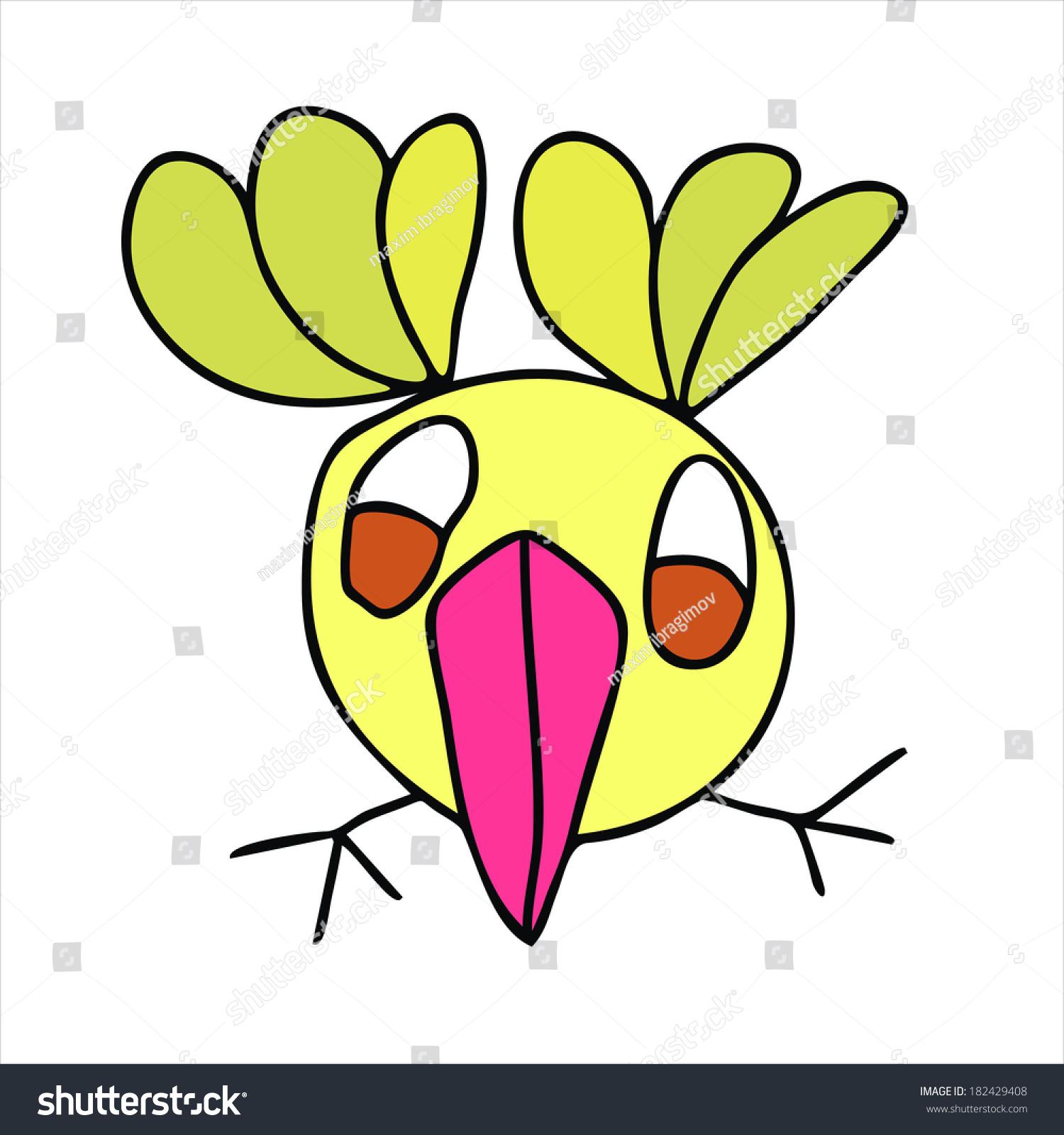 Vector Bird Drawing Kids Cartoon Isolated Stock Vector Royalty Free 182429408