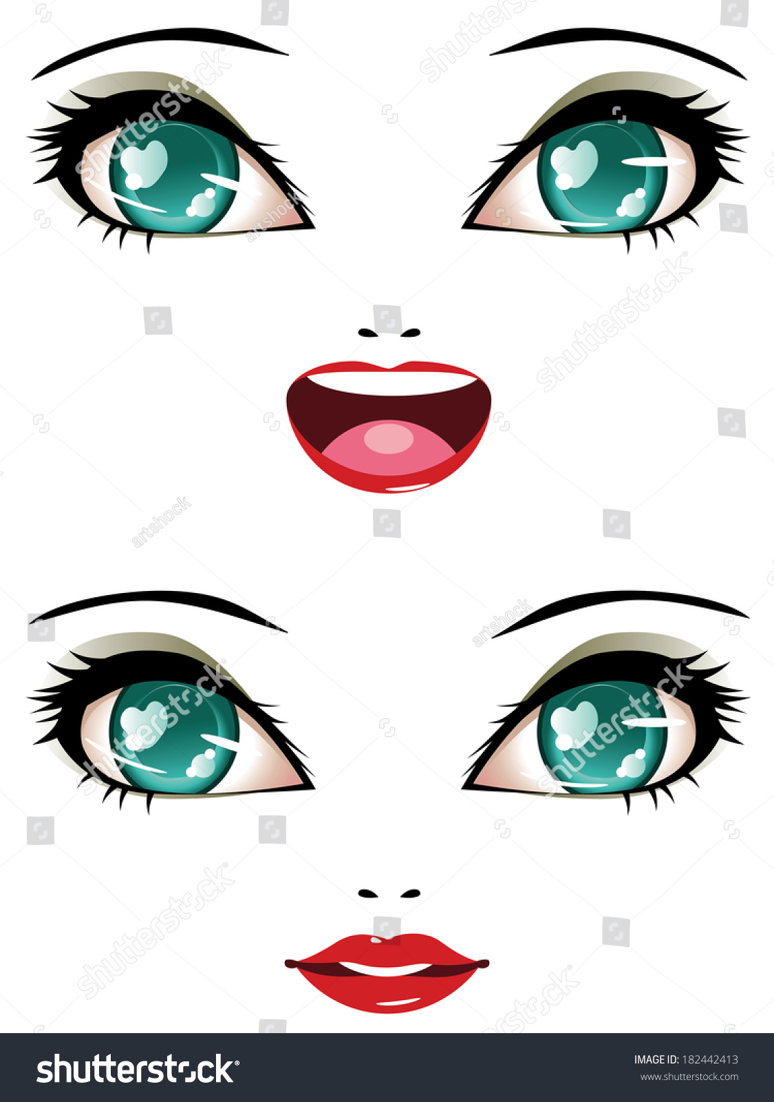 Royalty-free Smiling female face with stylized anime ...