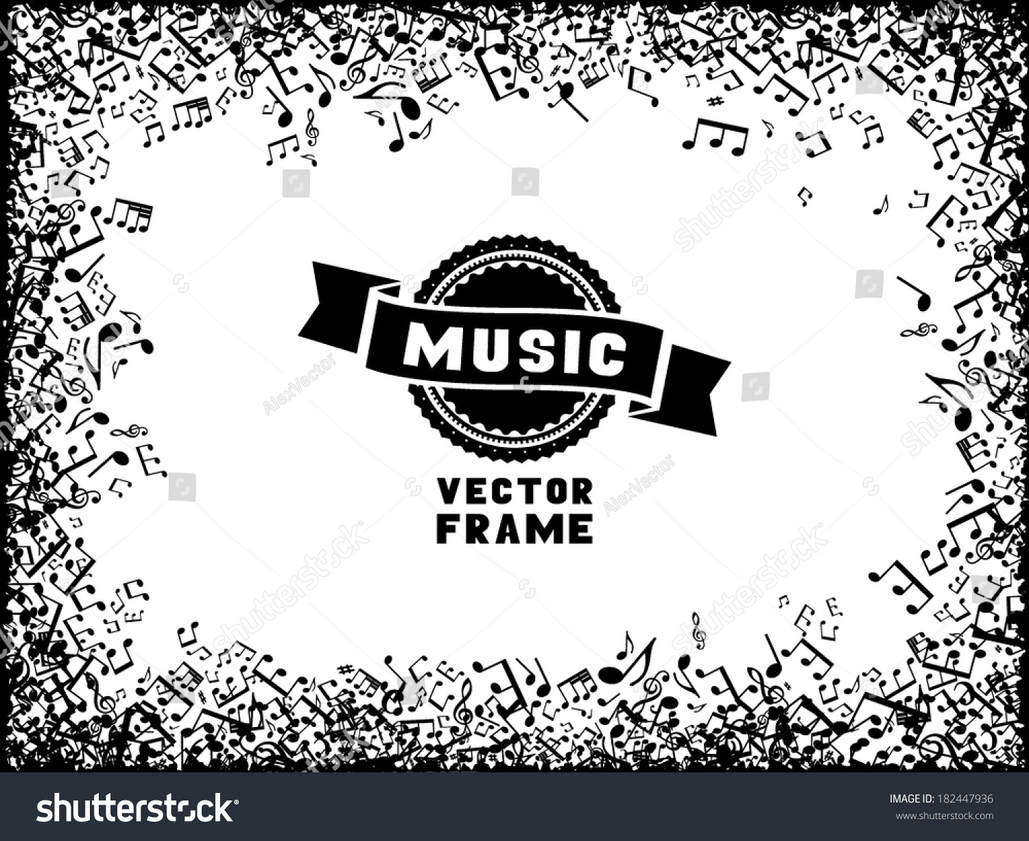 Music Frame Set Black Music Elements Stock Vector HD (Royalty Free ...