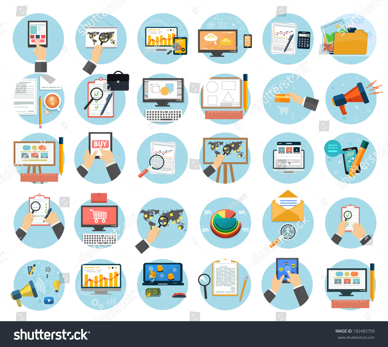 Web design objects business office and marketing items icons stock vector illustration - Object design eigentijds ontwerp ...