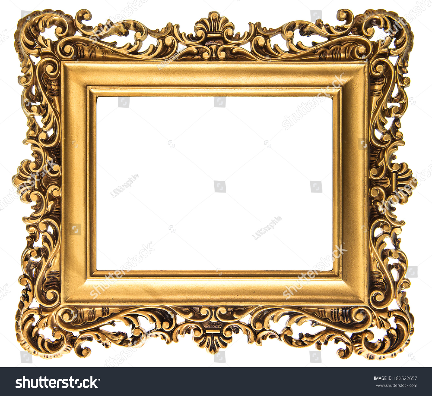 vintage golden picture frame isolated on stock photo 182522657 shutterstock. Black Bedroom Furniture Sets. Home Design Ideas