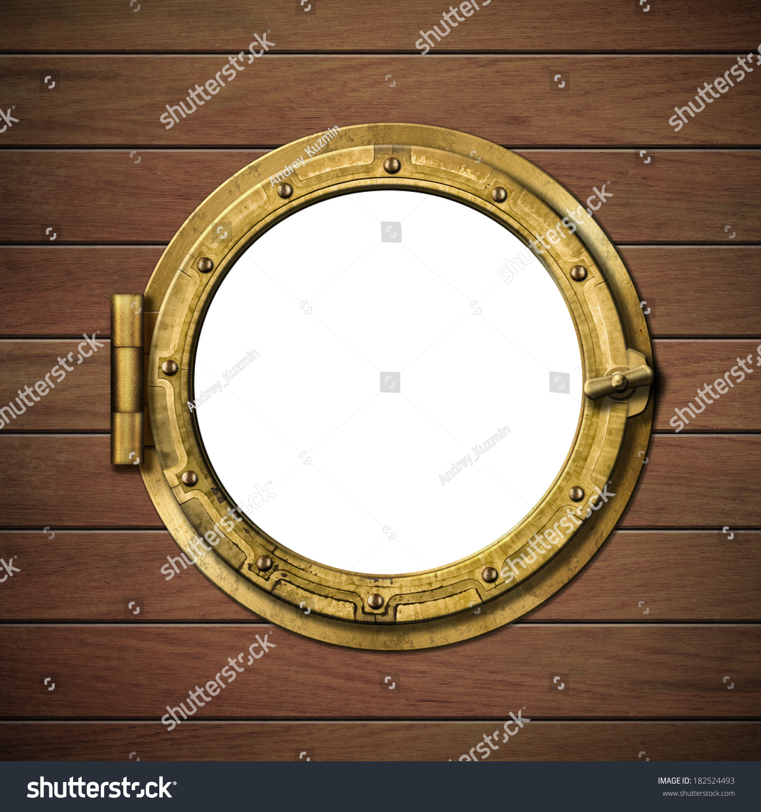 Boat Window Porthole On Wooden Ship Stock Photo (Edit Now) 182524493 ...