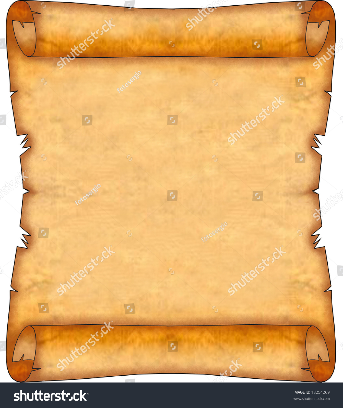 Ancient Scroll: Blank Ancient Scroll 08 Stock Illustration 18254269