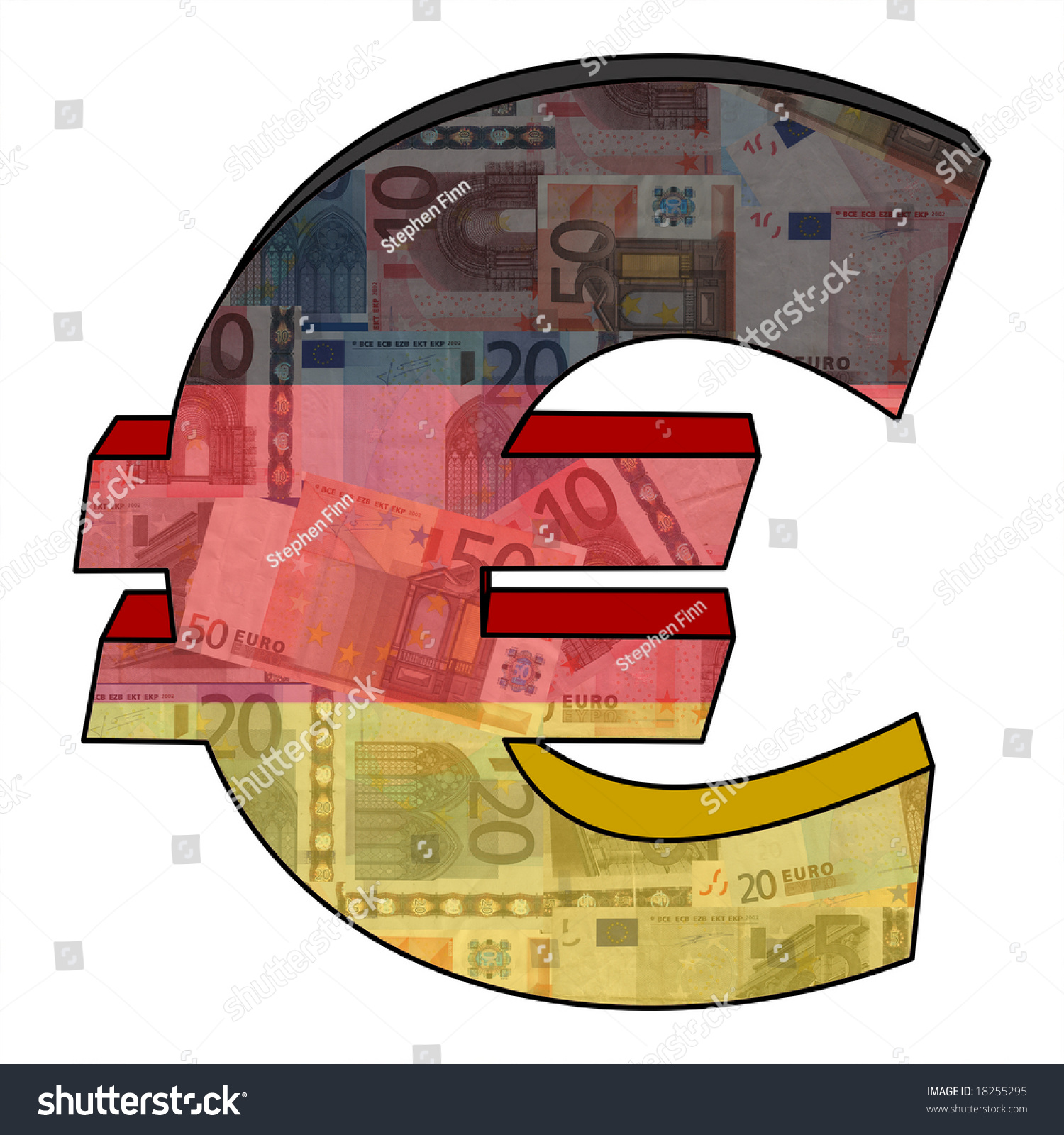 Euro Symbol German Flag Currency Illustration Stock Illustration