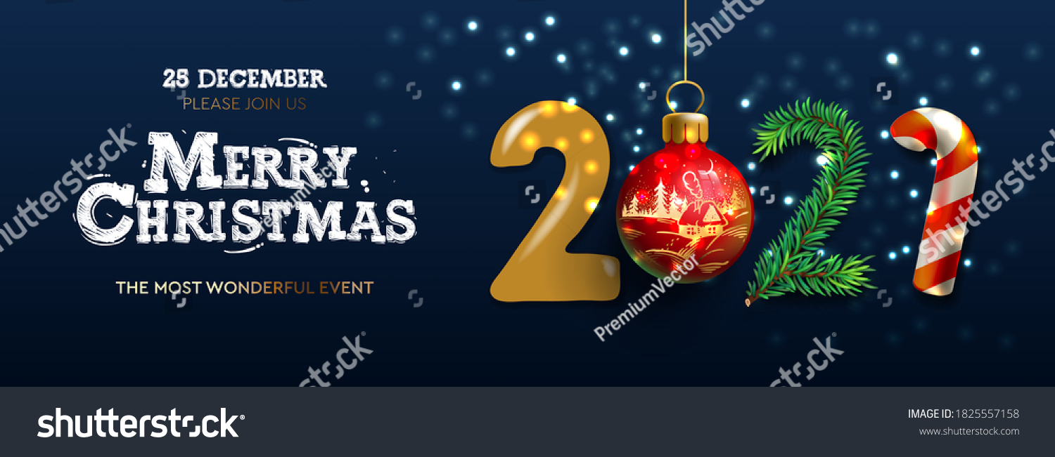 Merry Christmas and Happy New Year 2021 banner, Xmas festive decoration. Horizontal Christmas posters, cards, headers, website. Vector illustration  #1825557158