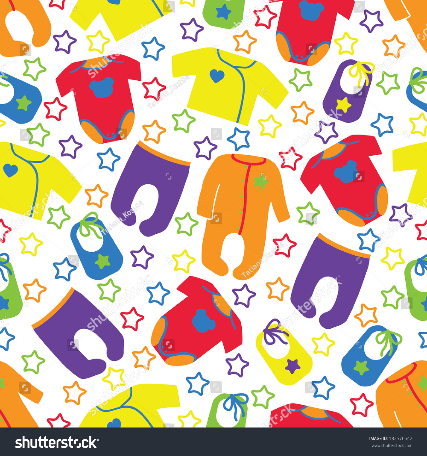 Colorful Clothes For Newborn Children Seamless Pattern Or Ornament With StarsUnisex Models Baby