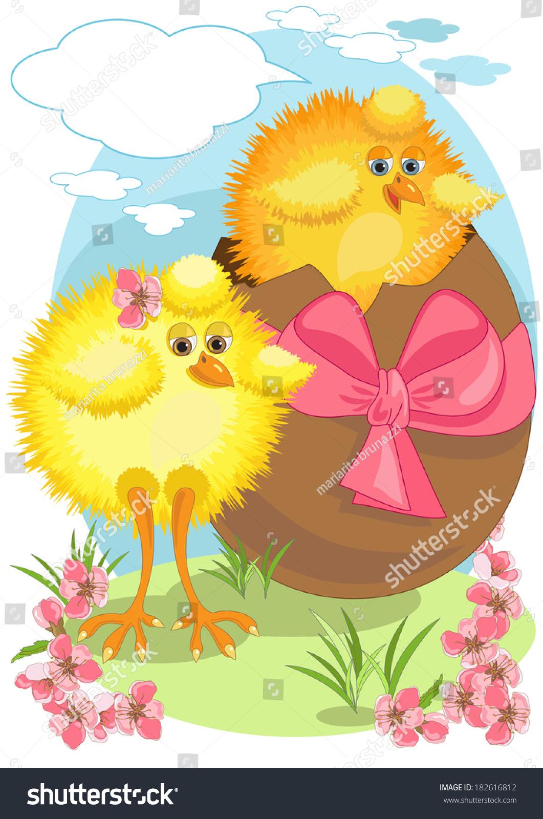 two big chicks easter egg stock vector hd (royalty free) 182616812