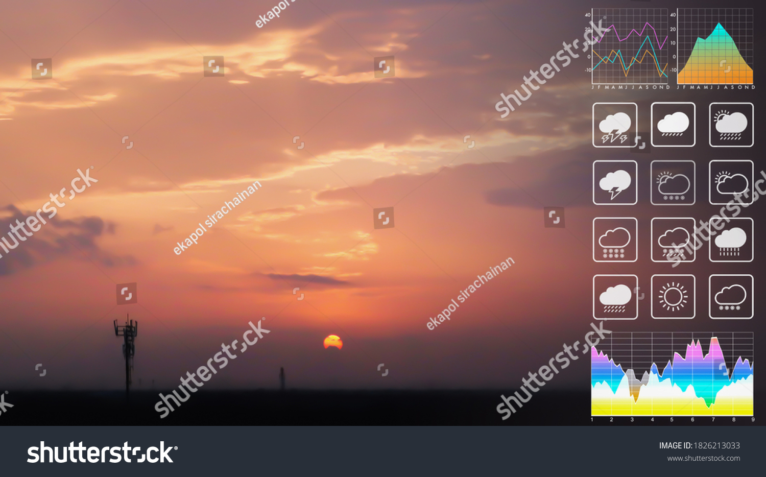 Weather forecast symbol data for meteorology presentation with graph and chart on dramatic atmosphere panorama view of colorful twilight tropical sky and  clouds aerial summer view background. #1826213033