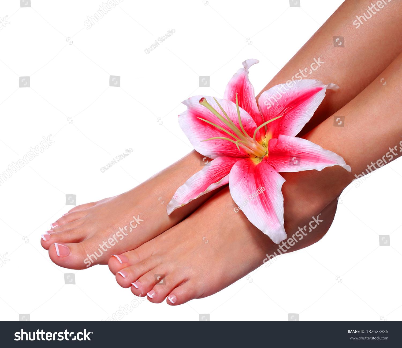Pedicure Beautiful Female Feet French Manicure Stock Photo (Royalty ...
