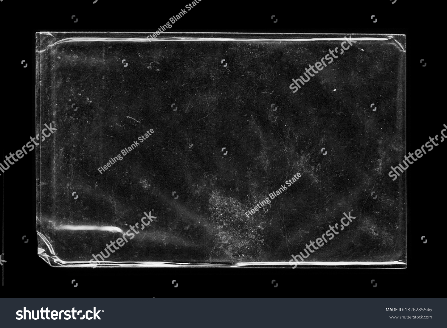 Blank transparent wrinkle plastic packaging overlay with grungy texture #1826285546