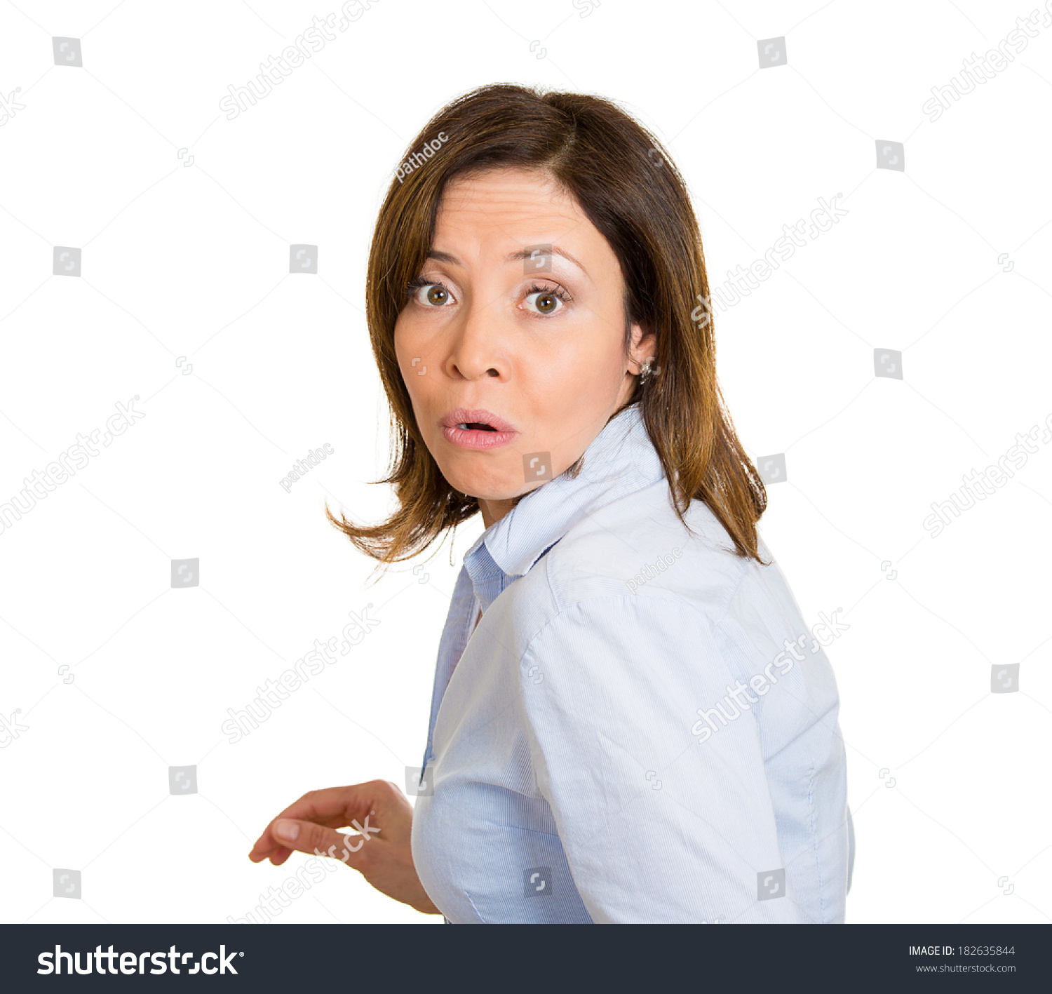 Closeup Portrait Young Scared Afraid Woman Stock Photo ...