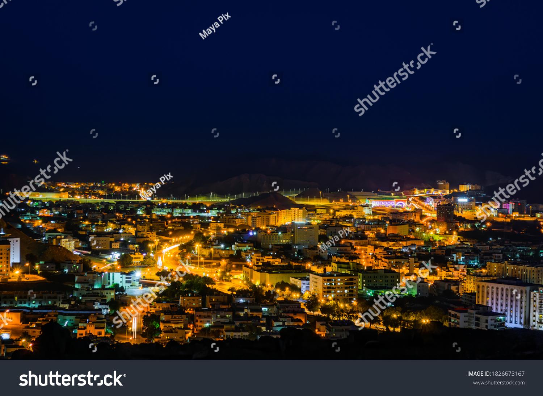 Illuminated cityscape of Muscat, Oman. Long Exposure Photography.