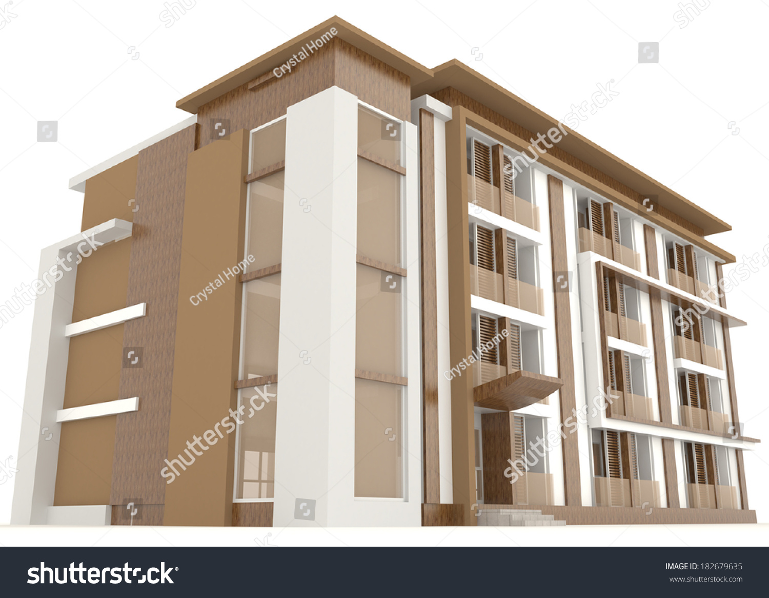 exterior office. Side Of Wooden Office Building Exterior Design In White Background, Create By 3D