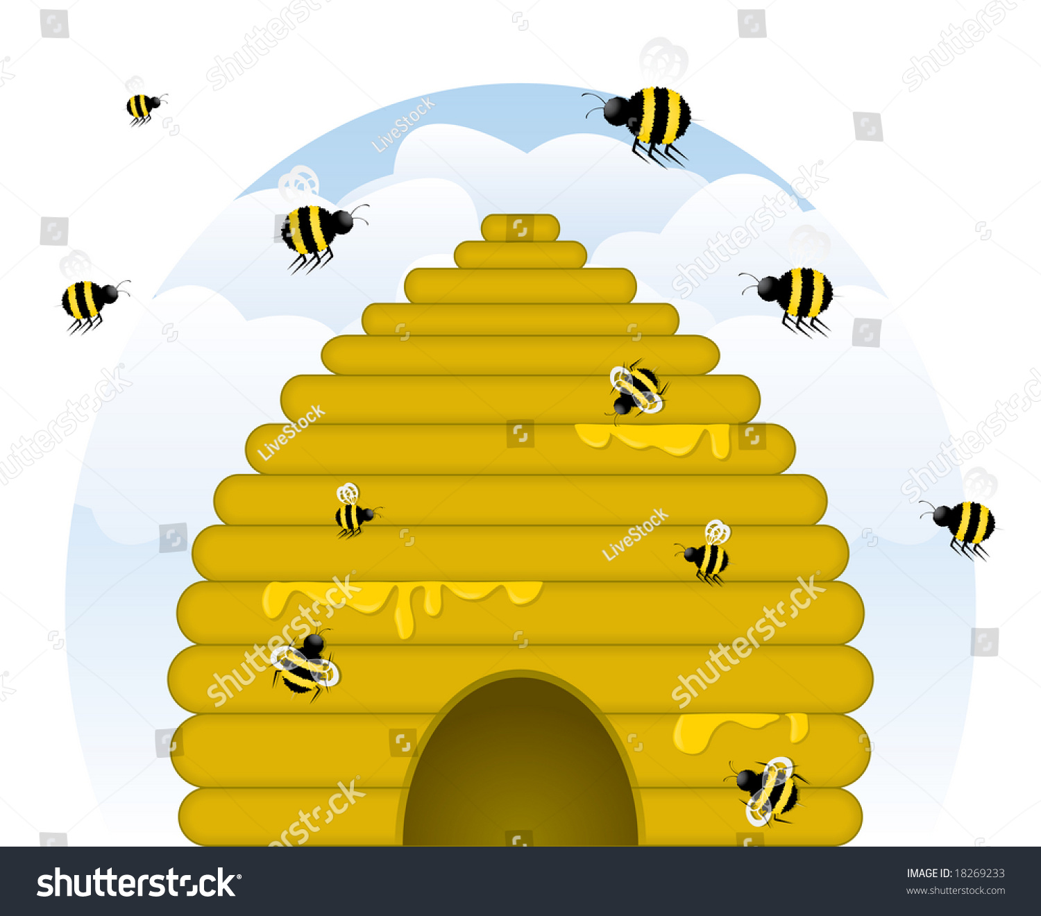 Image Version Of Skep Style Golden Beehive Dripping With Honey Busy
