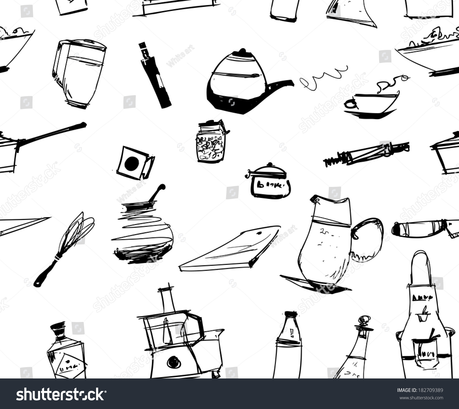 Kitchen Ornament Kitchen Utencils Seamless Ornament Stock Illustration 182709389
