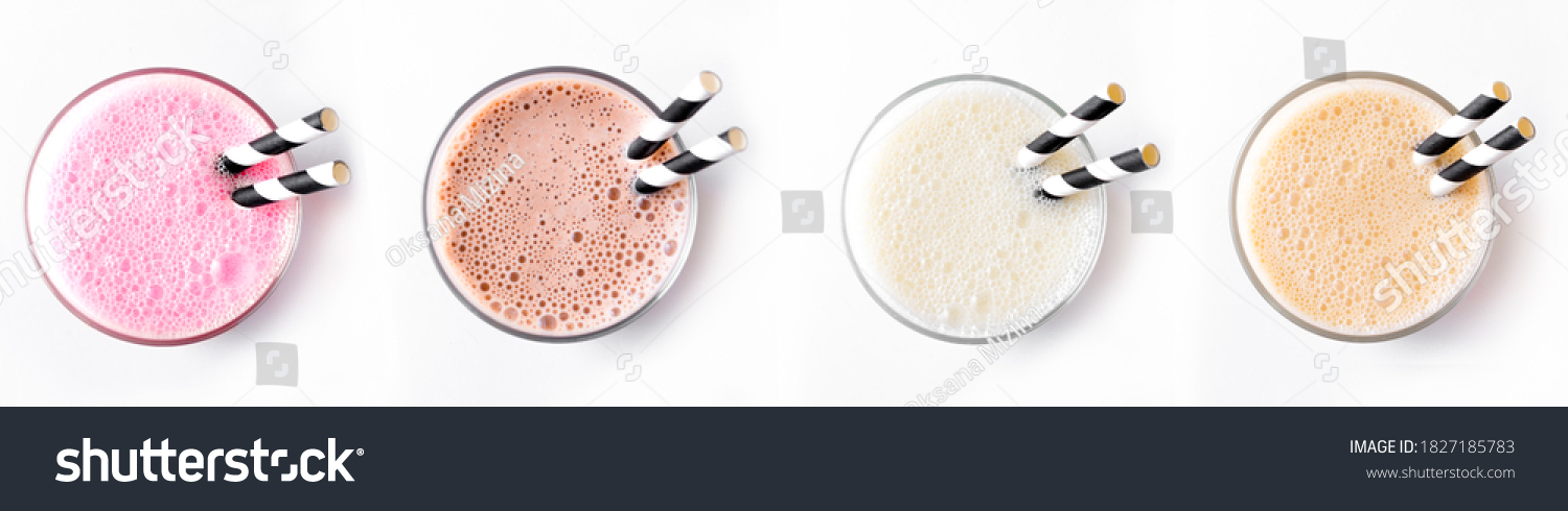 Set of delicious Milk Shakes or Smoothies isolated on white background. Various protein shakes,  strawberry, chocolate, vanilla, caramel energy drinks, top view. #1827185783