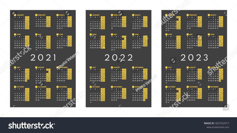 2022 2023 Pocket Calendar.2021 2022 2023 Mini Pocket Calendars Stock Vector Royalty Free 1827552917