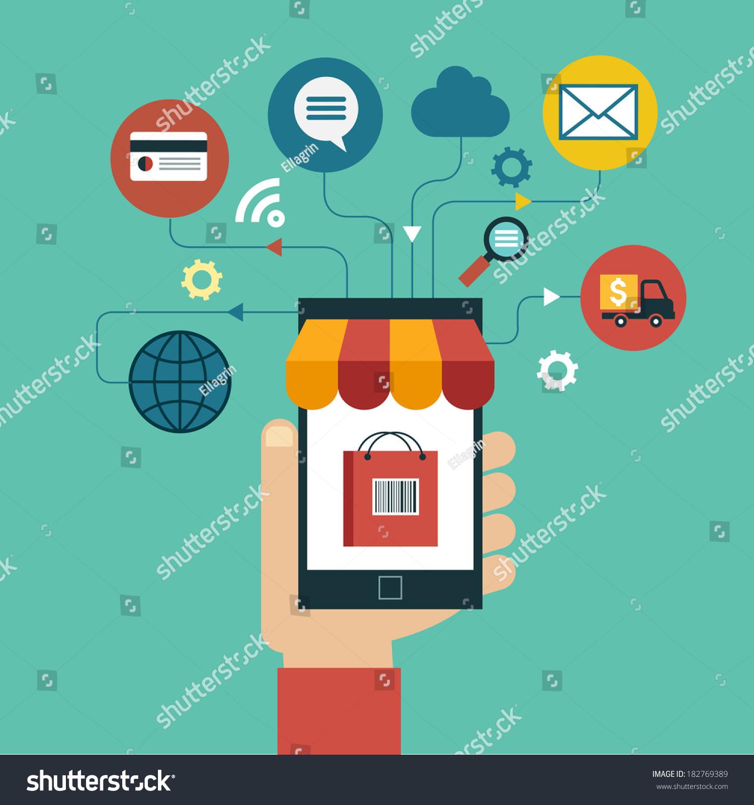E commerce concept flat design vector illustration human for E commerce mobili