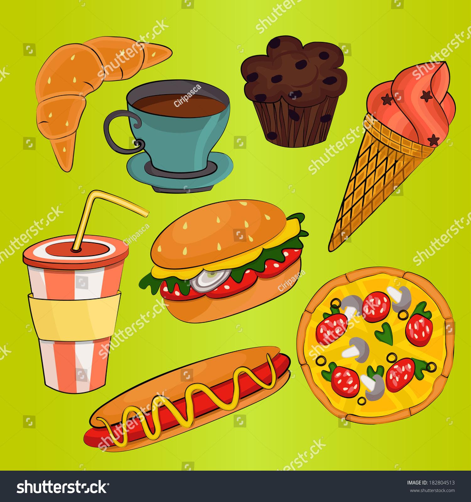 Fast Food Symbols Stock Vector Royalty Free 182804513 Shutterstock