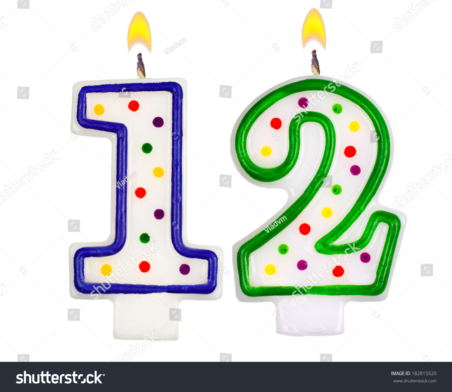 Birthday Candles Number Twelve Isolated On Stock Photo ...