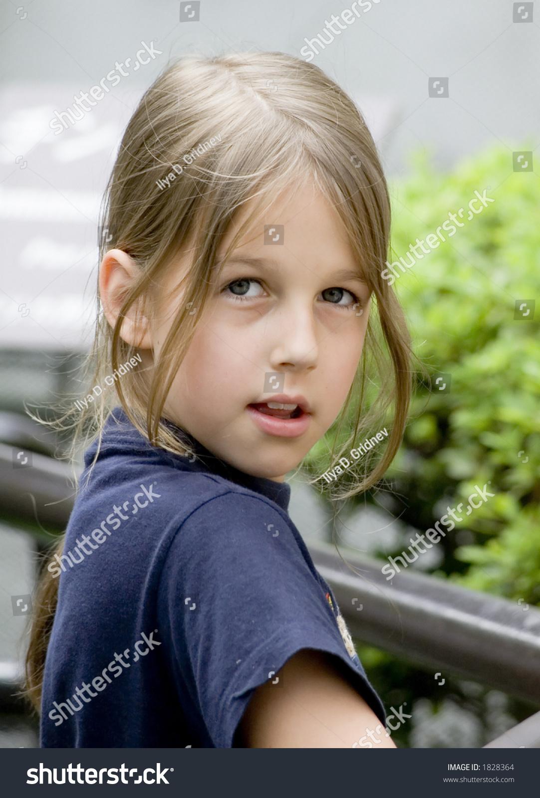Beautiful Preteen Girl Closeup Stock Photo 1828364