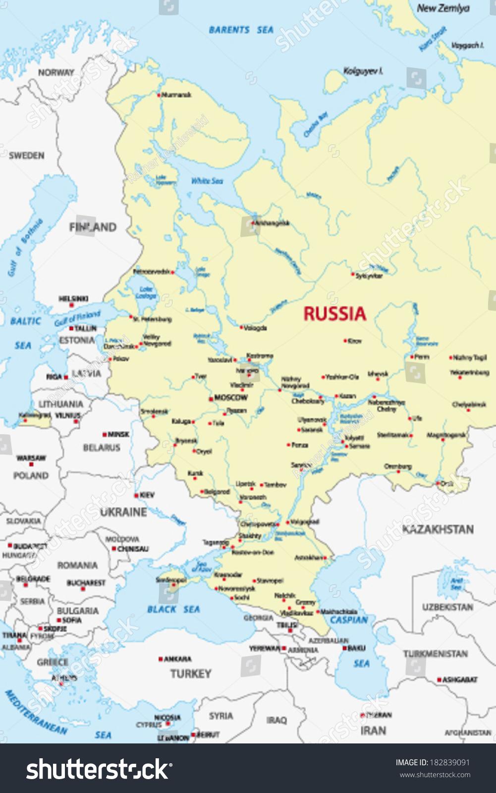 European Russia Map Crimea Stock Vector Royalty Free 182839091