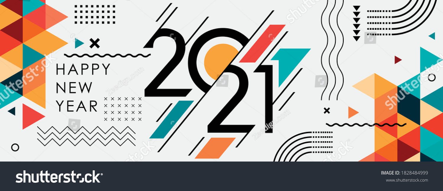 happy new year 2021 cover with modern geometric abstract background in retro style. happy new year greeting card banner design for 2021 calligraphy includes colorful shapes. Vector illustration #1828484999