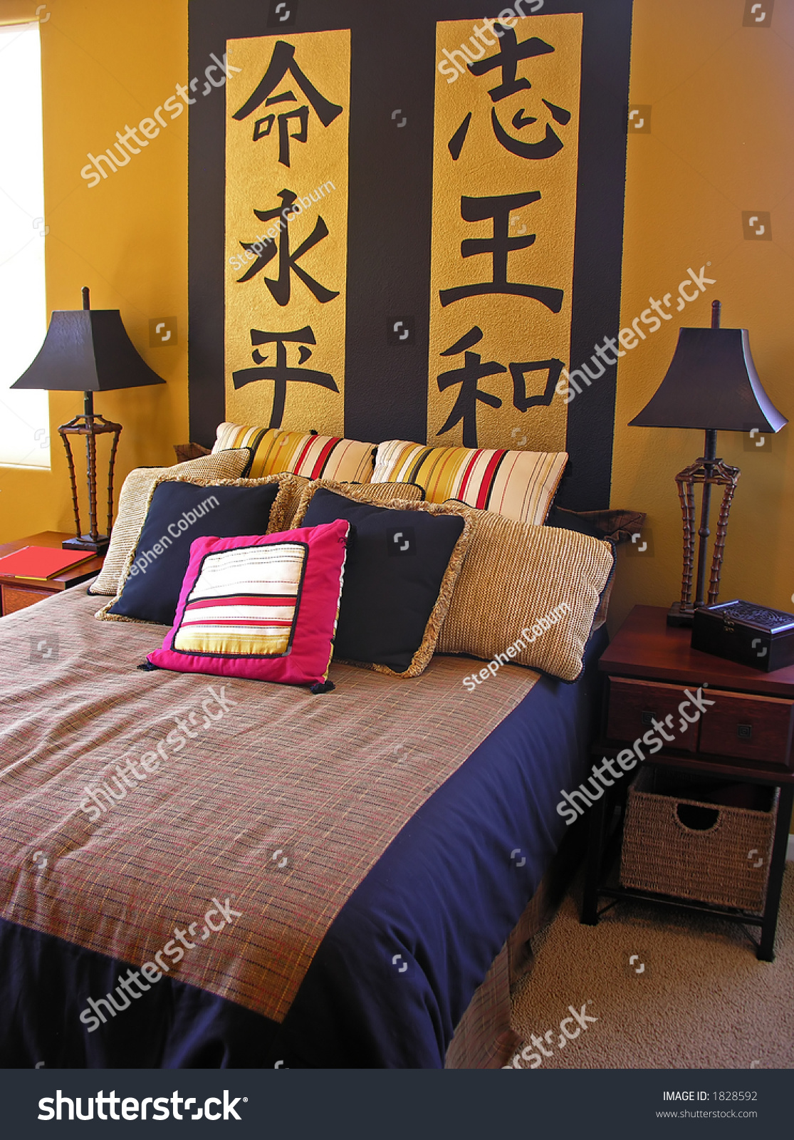Asian Themed Bedroom Interior Inside A Home
