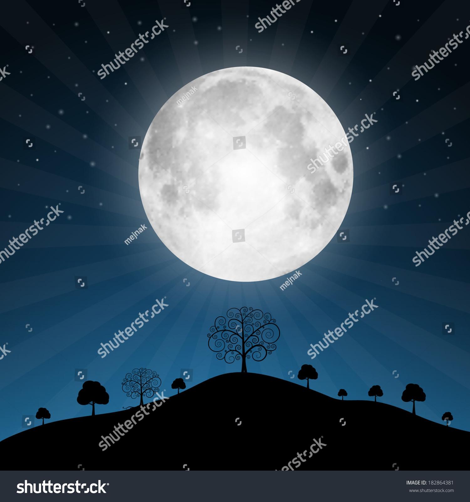 Moon Calendar Illustration : Vector full moon illustration with stars and trees
