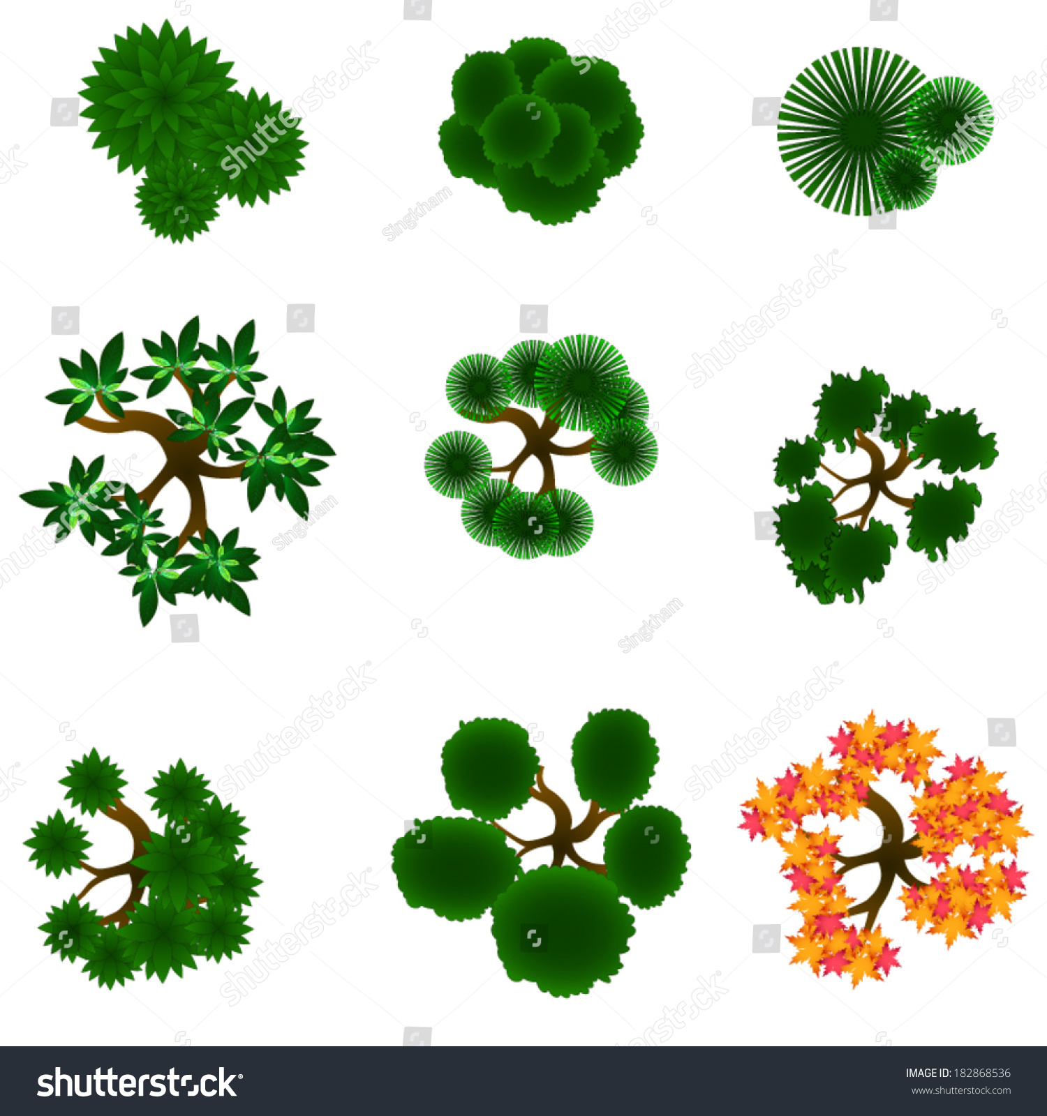 Royalty-free Trees item top view for landscape… #182868536 Stock ... for Plant Top View Vector  83fiz