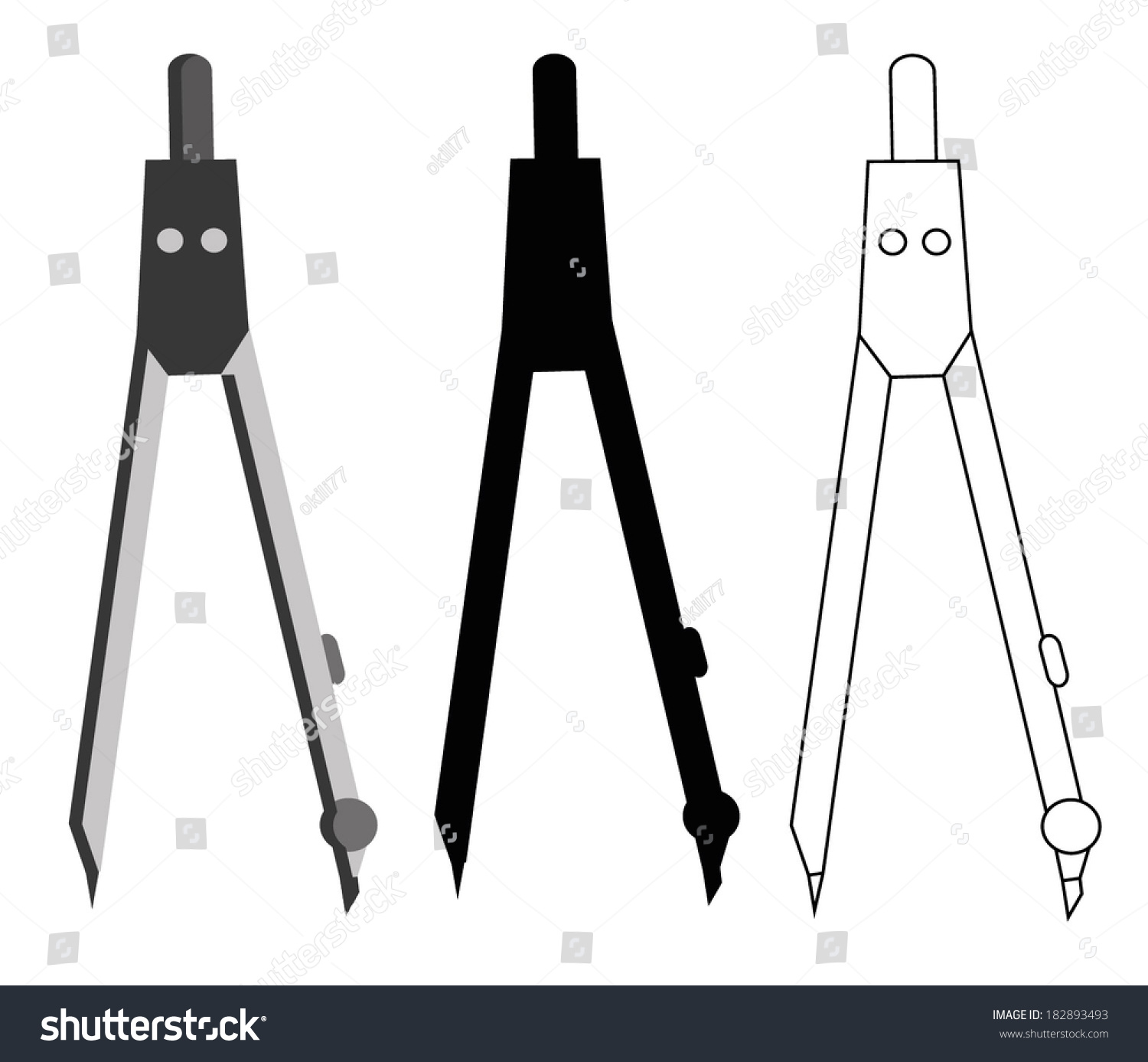 Royalty Free Drawing Compass Set Illustration Vector