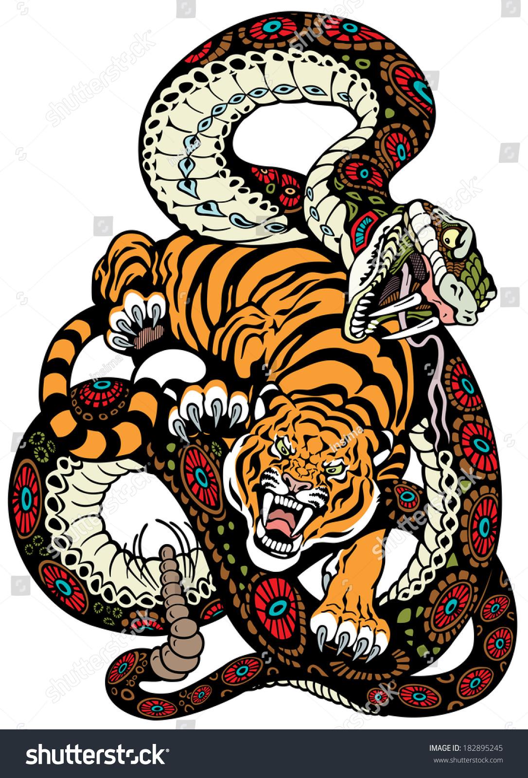 snake tiger fighting tattoo illustration stock vector 182895245 shutterstock. Black Bedroom Furniture Sets. Home Design Ideas