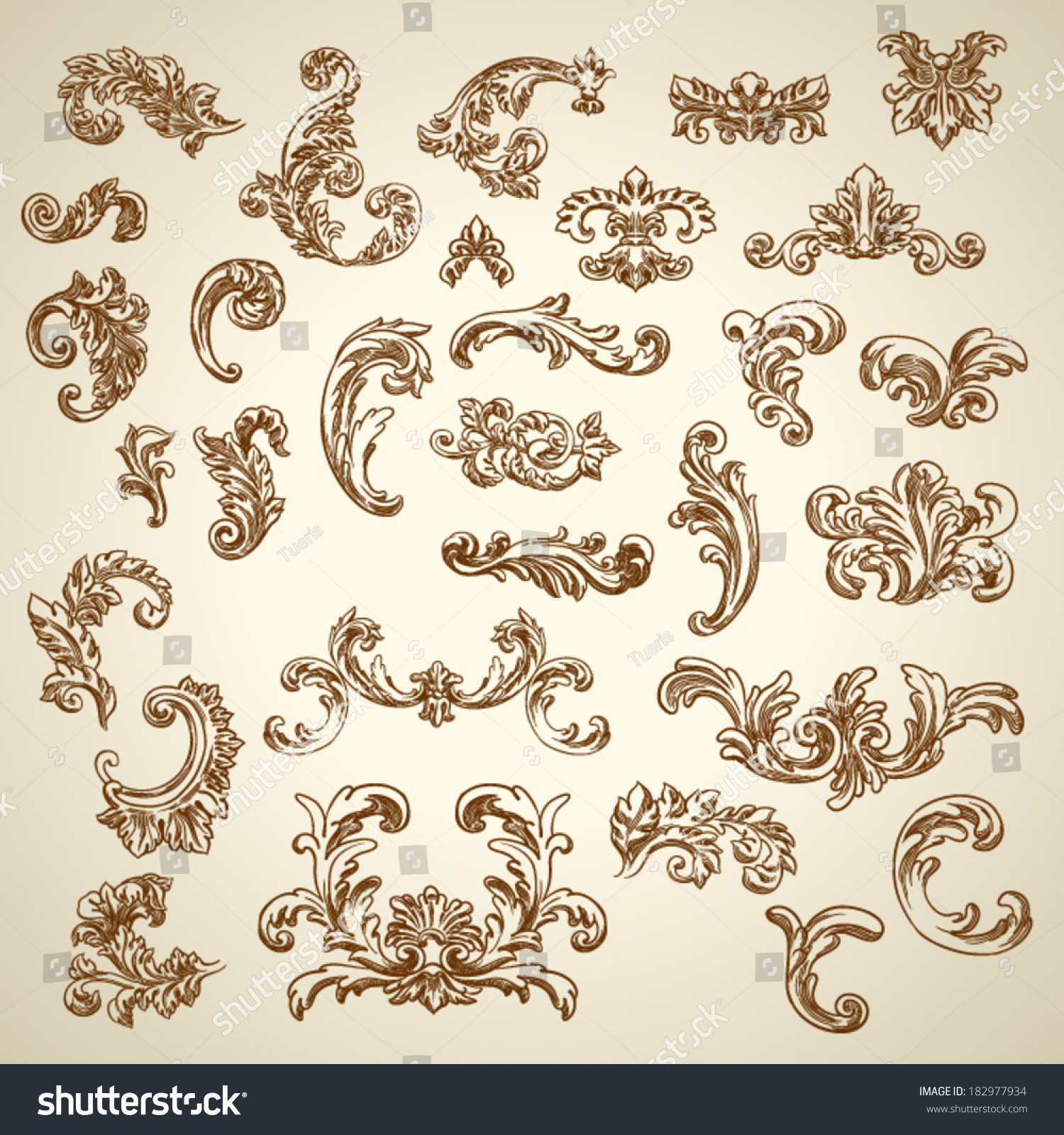 Antique Scroll Design: Set Vector Vintage Baroque Engraving Floral Stock Vector