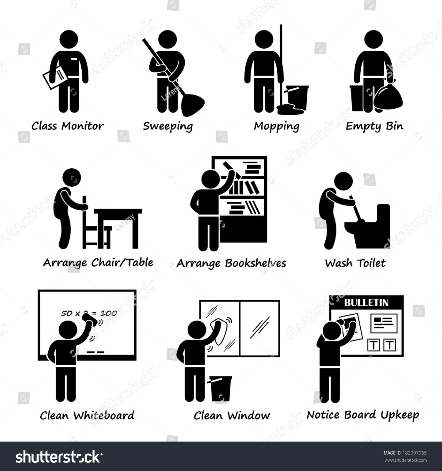 classroom student duty roster stick figure stock illustration