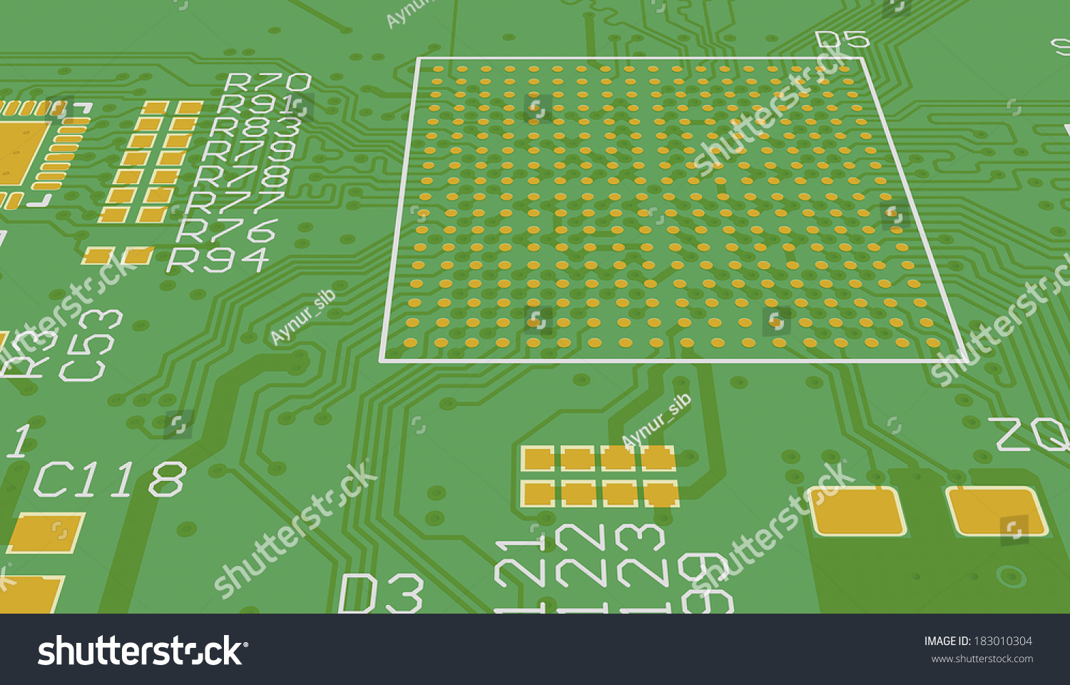 Pcb 3 D Device Design Wiring Schemeprinted Stock Illustration Board 3d Circuit Cad Designed For Computer Production Manufacturing