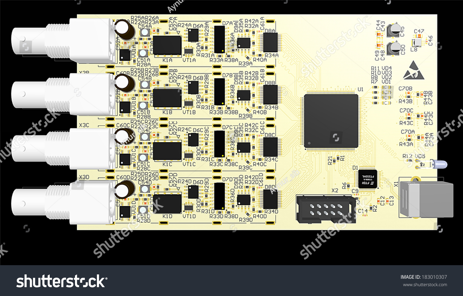 Top View Pcb Wiring Schemeprinted Circuit Stock Illustration Stockfoto Printed Board Used In Industrial Electronic Cad Designed For Computer Production Manufacturing Printing