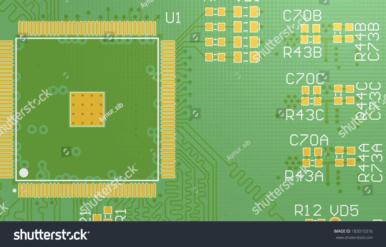 Top View Pcb 3 D Circuit Cad Stock Illustration 183010316 Shutterstock Printed Wiring Board Manufacturers 3d Designed For Computer Device Manufacturing Printing With Silkscreen