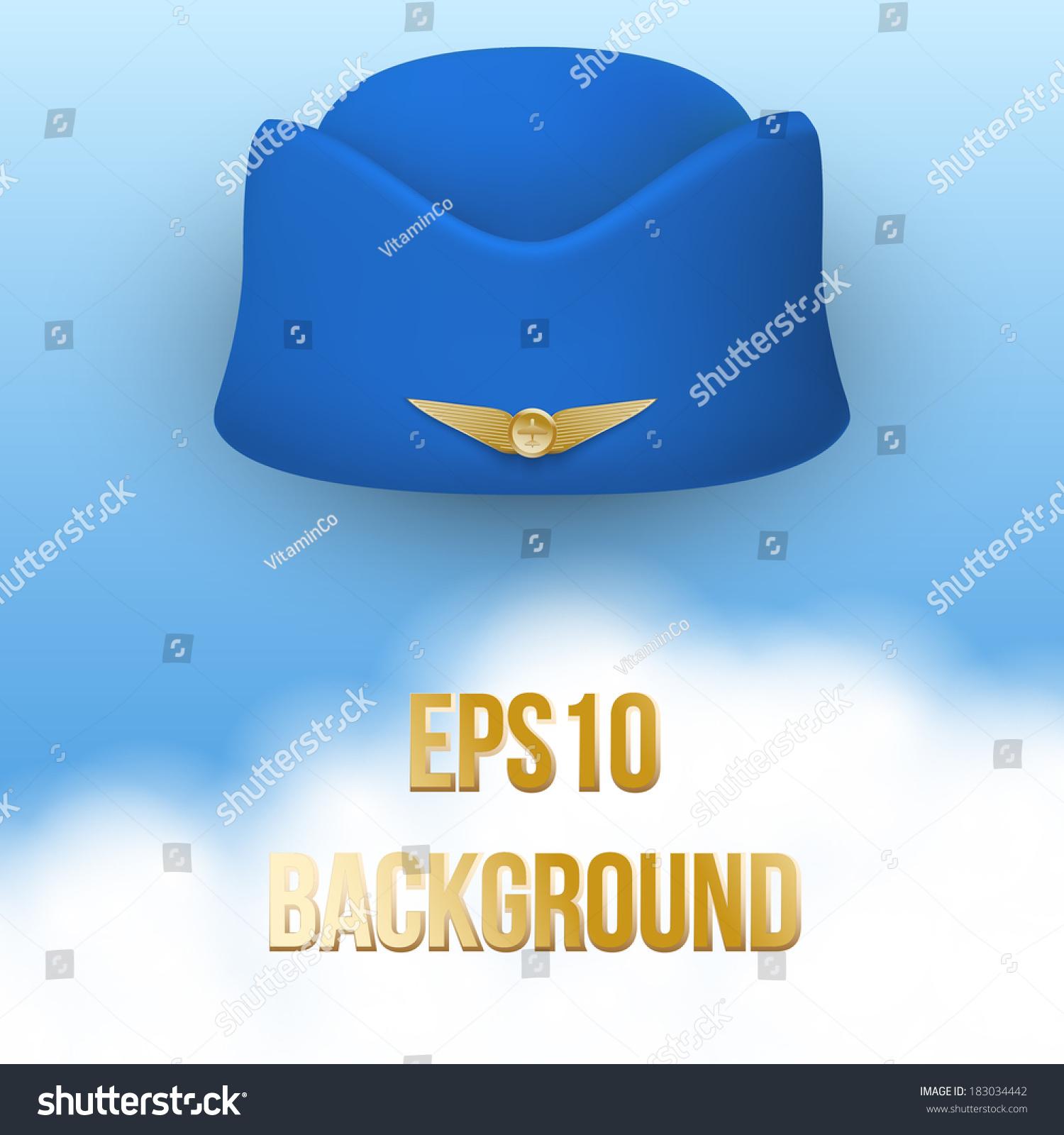 f17b5ef861c7d Stewardess hat of air hostess uniform. Vector. Civil aviation and air  transport. Travel business. Vector Illustration.