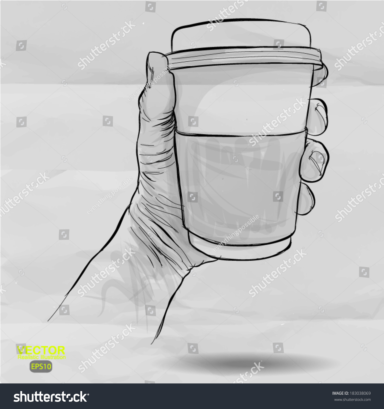 Hand Drawn Hands Holding Cup Of Coffee On Crumpled Paper