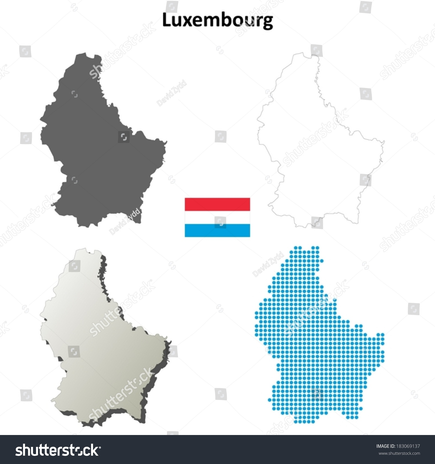 Isolated Blank Contour Maps Luxembourg Vector Stock Vector - Luxembourg map vector