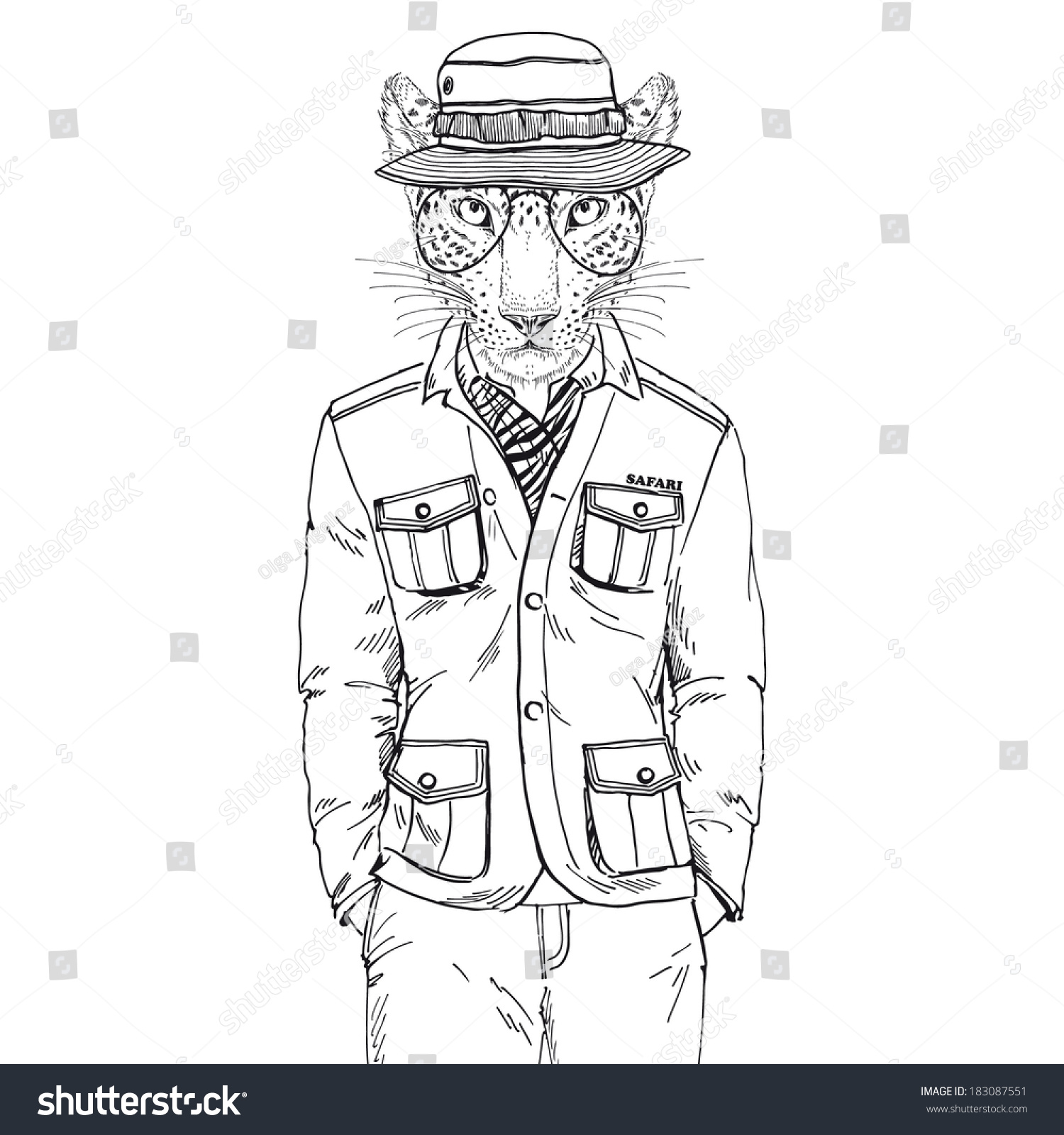 Hand Drawn One Color Sketch Leopard Stock Vector 183087551 - Shutterstock