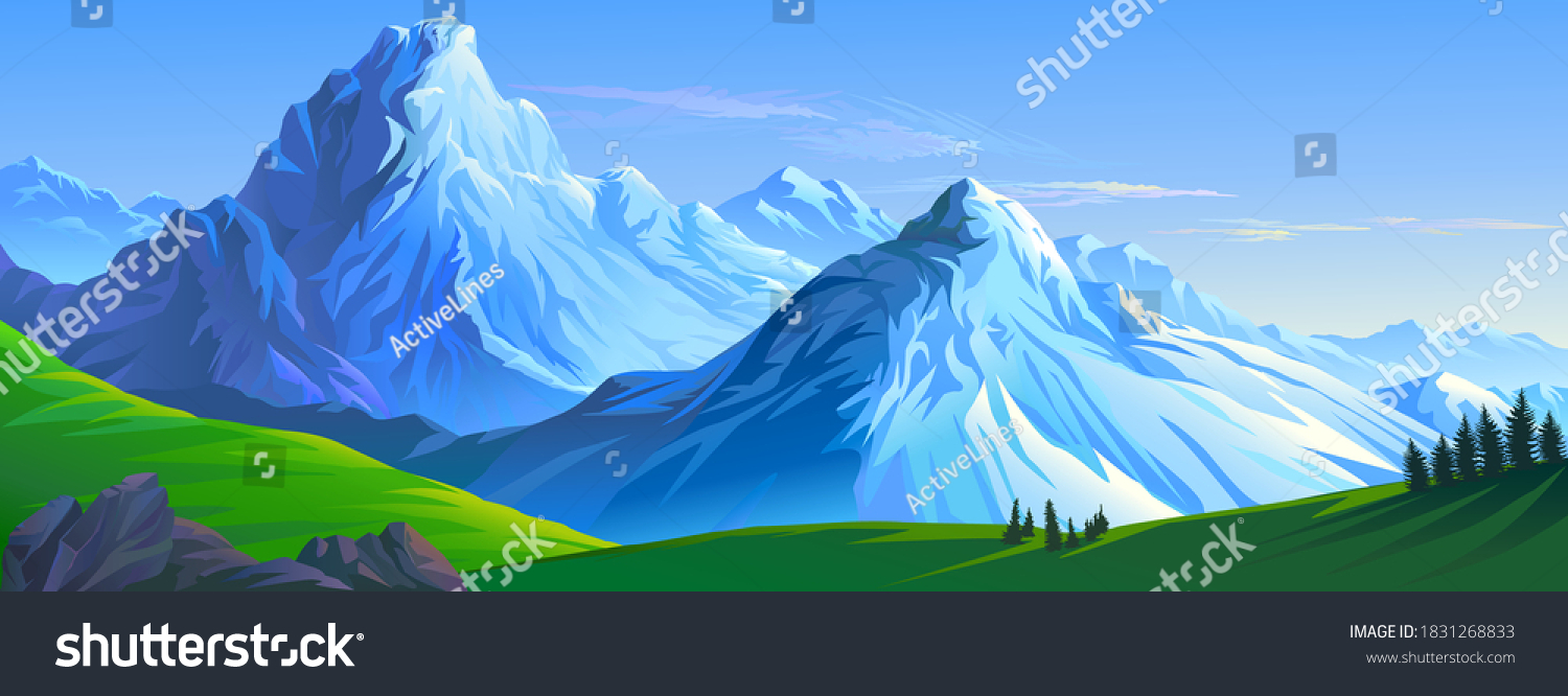Crusty ice surface of the mountains with beautiful meadows and ranges of hills #1831268833