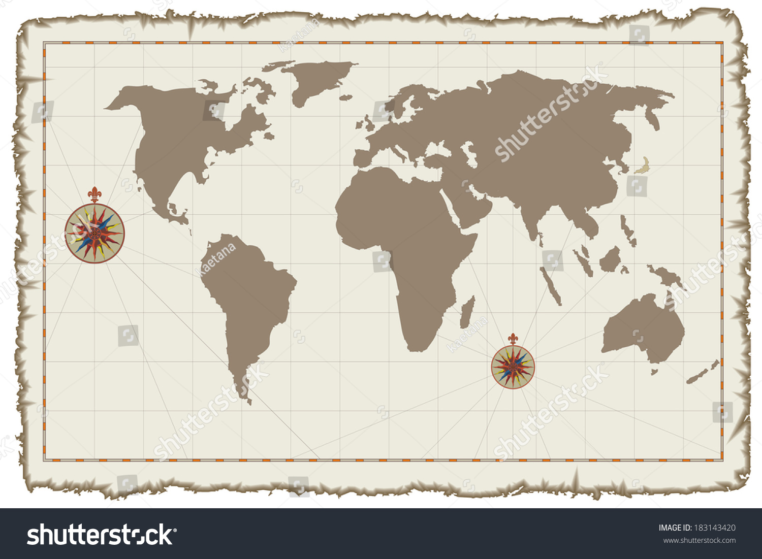 Old medieval style world map on stock illustration 183143420 old medieval style world map on parchment for your travel design gumiabroncs Choice Image