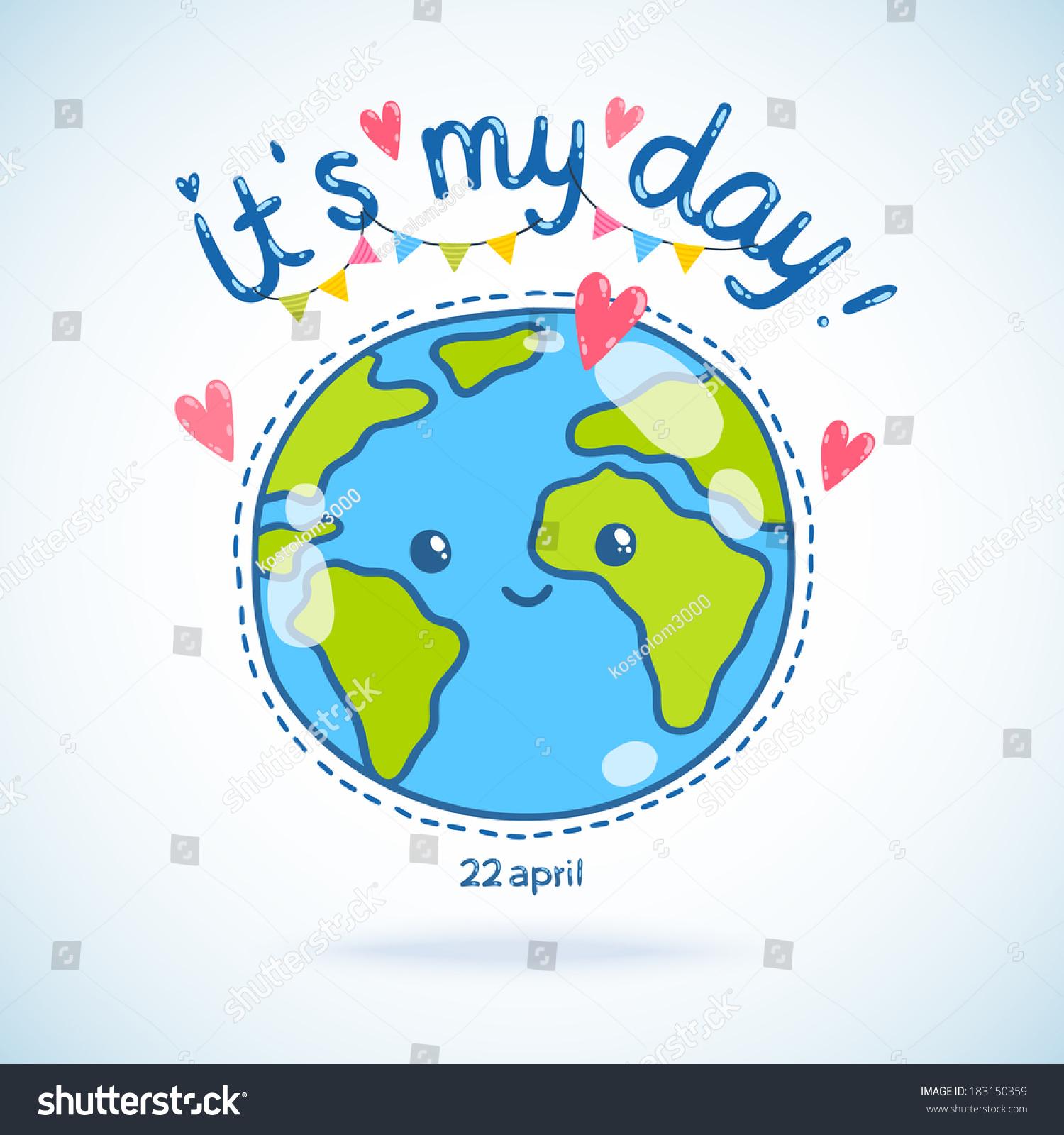 cute cartoon earth globe postcard  earth day background  stock vector illustration 183150359
