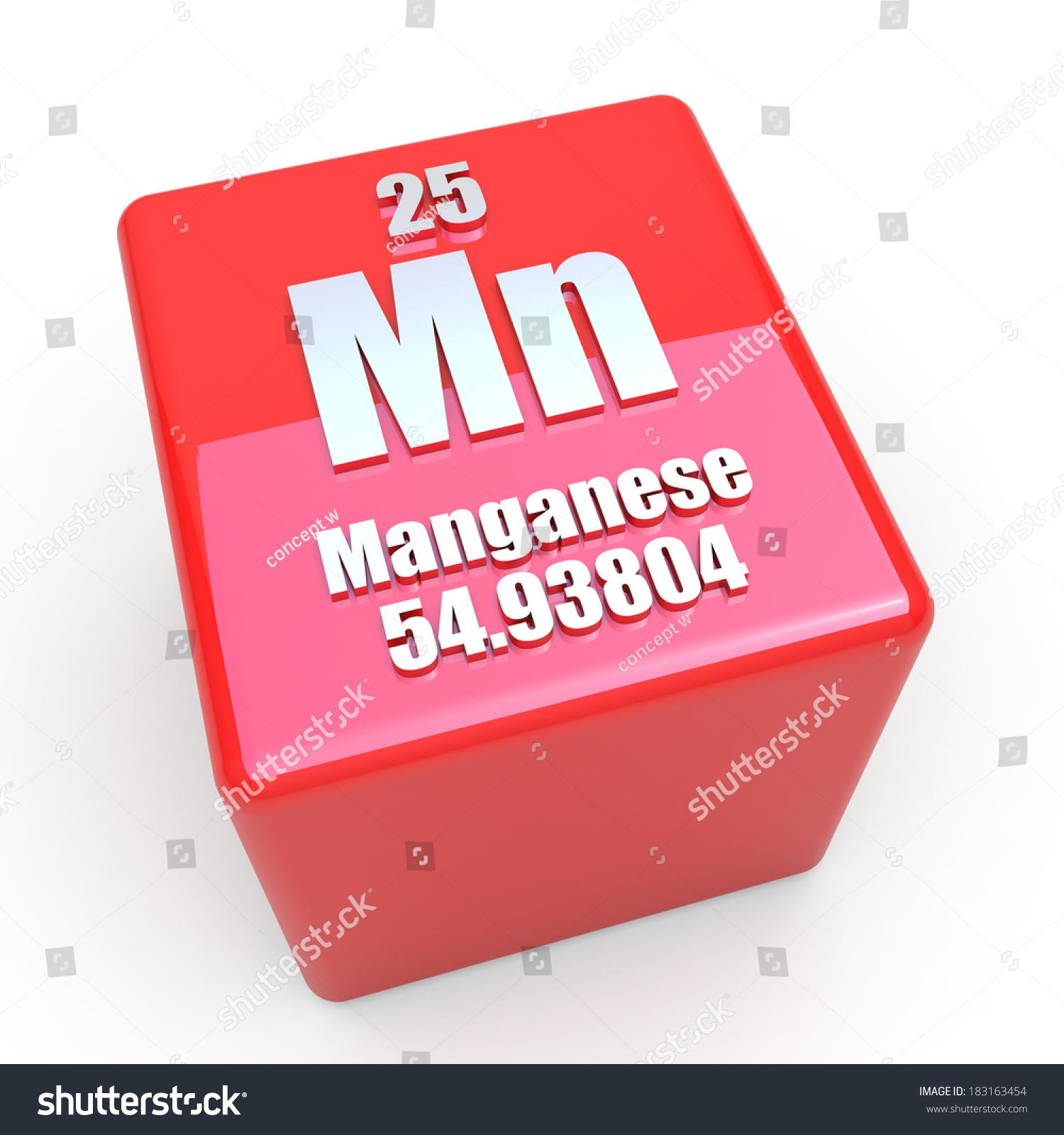 Manganese Symbol On Glossy Red Cube Stock Illustration 183163454