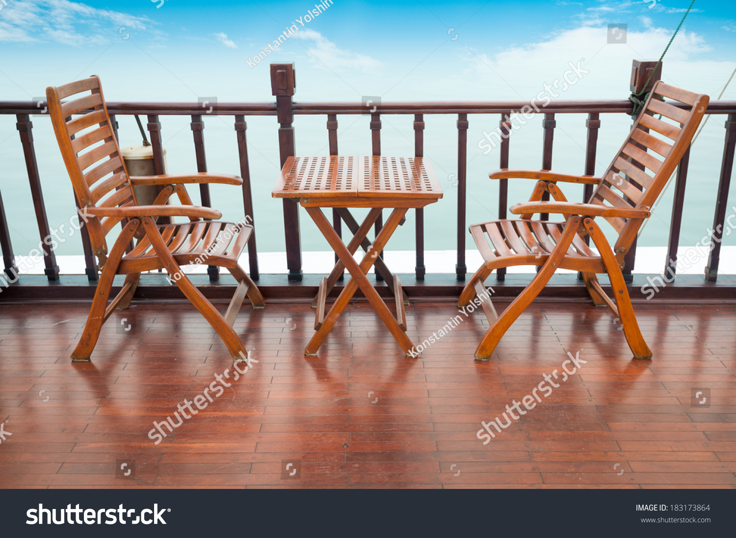 Empty Wooden Deck Chairs Table On Stock Photo (Edit Now) 183173864