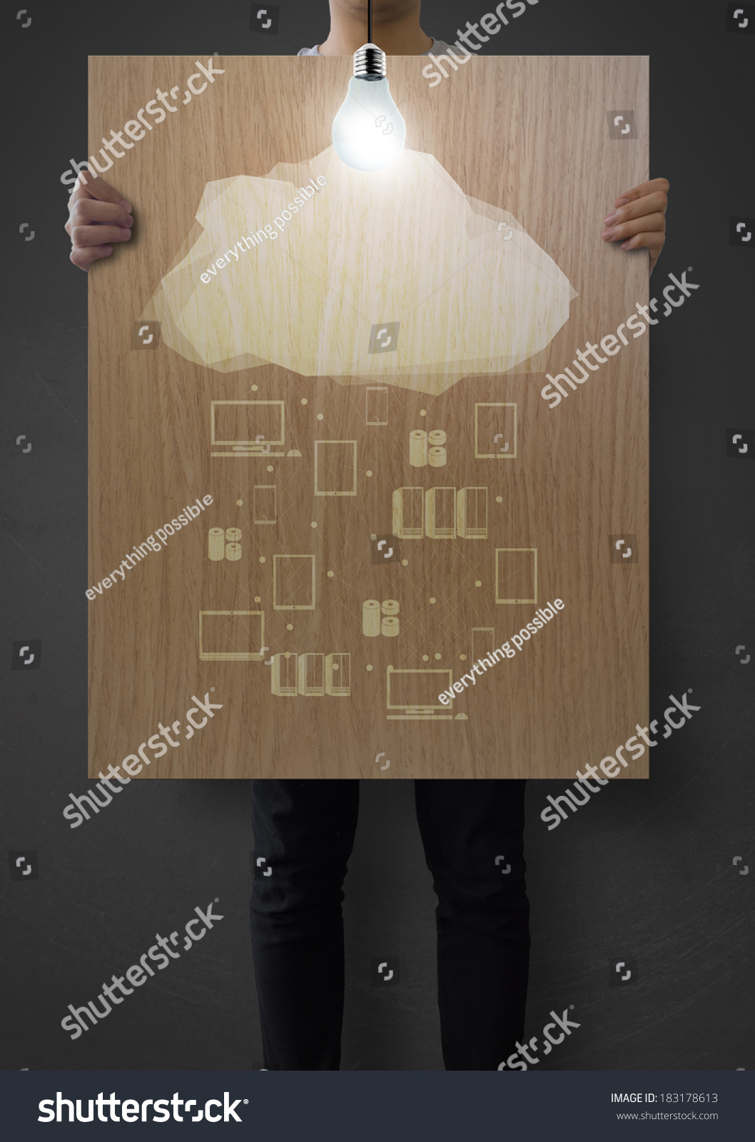 Man Showing Poster Of Graphic Cloud Network Diagram On Wooden Board As ...
