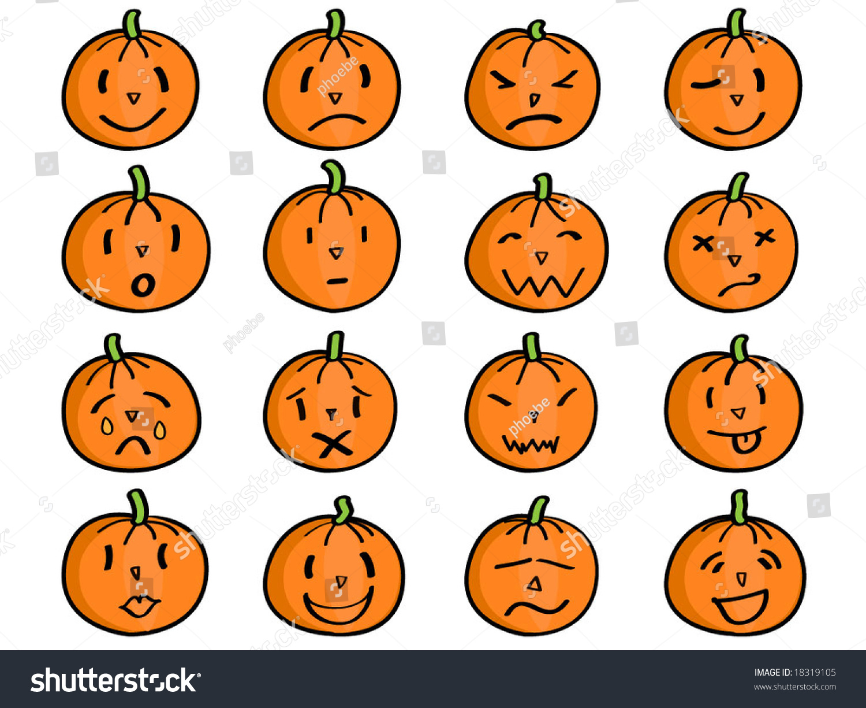 Pumpkin Different Facial Expressions Emoticons Stock